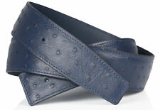 Ostrich Navy Blue Black H Belt Reversible Leather Strap without Buckle 40mm NEW