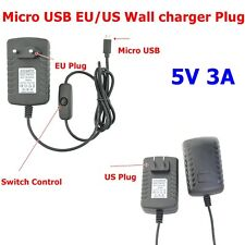 New Raspberry Pi 3 Power Supply 5V 3A Micro USB Charger Adapter Switch ON OFF