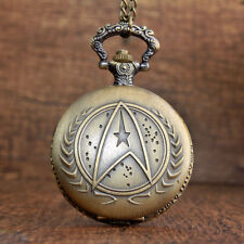 Antique Star Wars Gold Vintage Mystery Star Trek Quartz Pocket Watch With Chain