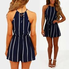 Summer Womens Strappy Striped Jumpsuit Casual Loose Shorts Party Romper Playsuit