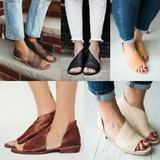 Roman Casual Open Toe Flat Sandals Womens Summer Fashion Spiral PU Leather Shoes