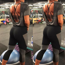 Women Cropped Yoga Fitness Leggings Running Gym Stretch Sports Pants Trousers UD