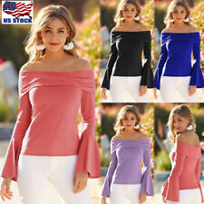 Womens Off Shoulder Blouse Summer Ladies Casual Long Bell Sleeve Tops T-shirt US