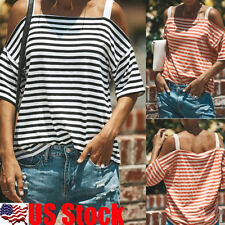 Womens Short Sleeve Cold Shoulder Striped Blouse Casual T-Shirt Tops T-Shirt USA