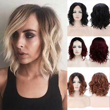 Attractive Lace Front Full Wig Bob Straight Wave Ombre Blonde Brown Grey Hair Zx