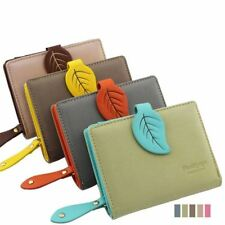 Leather Coin Purse Wallet Clutch And Credit Card Holder With Leaf Hasp For Women
