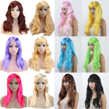 "19-20""Long Straight Curly Wavy Party Wig Bright Blonde Brown Hair Fancy Dress Eq"