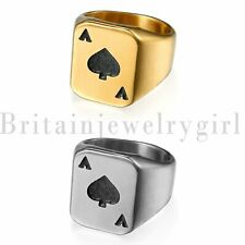 Stainless Steel Spades A Heart Poker Ring for Men's Wedding Biker Band Size 7-14