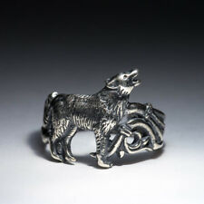 Howling Wolf Ring, 925 silver or silver-plated, adjustable size, handmade