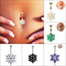 Chic Flower Gem Crystal Rhinestone Body Piercing Jewelry Belly Button Navel Ring