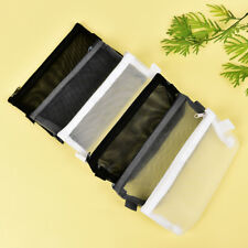 Clear Exam Pencil Case S/L Transparent Simple Mesh Zipper Stationery Bag Pl