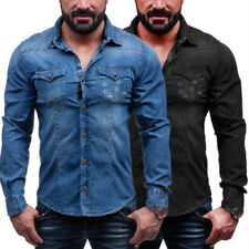 Mens Turn-down Collar Solid Color Long Sleeve Casual Denim Shirt Slim fit tops