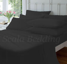 NEW COMPLETE HOME BEDDING ITEM 800TC BLACK SOLID 100% COTTON CHOOSE SIZES & ITEM