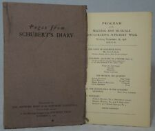 Franz Schubert / Pages from Schubert's Diary [and] Program of the Meeting