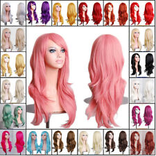 Fashion Anime Wig Long Layer Curly Cosplay Full Wigs Heat Resistant Women Hair @
