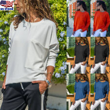 Women Long Sleeve Crew Neck Casual Loose Soild Color Tunic Top Blouse T Shirt US