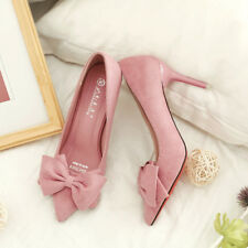 Womens Stilettos High Heels Pointed Toe Court Shoes Ladies Bow-Knot Pumps Party