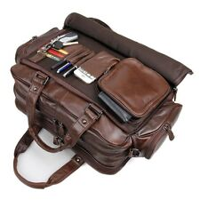 Laptop Briefcase Bag Genuine Cow Leather Business Double Layer Messenger Men 16""