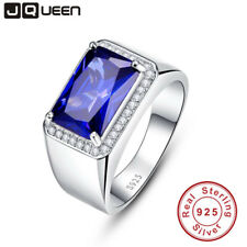 Luxury 7ct Blue Sapphire Ring Solid 925 Sterling Silver Jewelry Emerald Design