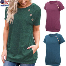 Women Short Sleeve Round Neck Pullover Blouse Casual Loose Tunic Tops T Shirt US