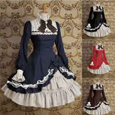 Womens Stand Collar Retro Gothic Lolita Dress Long Sleeve Party Ball Gown Dress