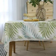 Polyester Material Green Color Printed Rectangular Shape Table Cloth For Home