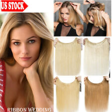 100% Remy Human Hair Extensions Invisible Secret Headband CROWN Wire In Weft R03
