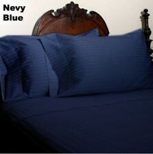 Glorious Bedding Items 100%Cotton 1000 Count US Sizes Navy Blue Striped