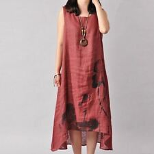 Women Summer Style Sleeveless Printed Loose O Neck Cotton Large Size Dress