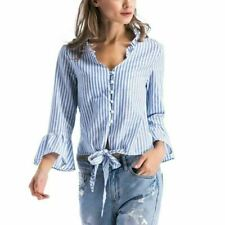 Women Long Sleeve Striped Pattern Bow Tie V Neck Loose Casual Blouse Shirt