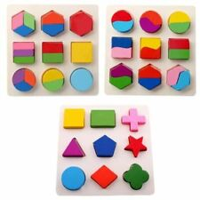 Wooden Geometric Shapes Puzzle Sorting Math Montessori Preschool Learning Educat