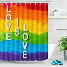 "Rainbow Gay Pride Shower Curtain with Hooks 60""x 72"" Waterproof Polyester Fabric"