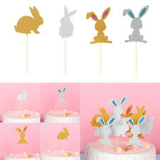 Birthday Party Favors Glitter Rabbit Cupcake Toppers Cake Decor Picks Card