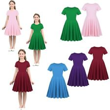 Girls Summer Cotton Short Sleeves Dress Kids Party Costumes Casual Daily Dresses
