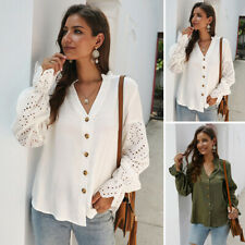 Women Hollow Splice Button V-Neck Long Sleeve Tops Blouse Solid Color Loose Top