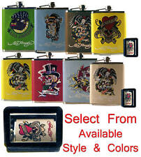 Don Ed Hardy Tattoo Design Leather Wrapped StainlessSteel 7oz Whiskey Flask