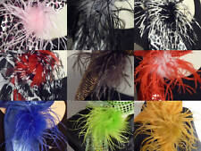 Stenciled Ostrich Feather Hair Clip Brooch Lapel Pin!