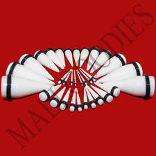 "V029 Acrylic White Stretchers Tapers Expander Ear Plugs 14G to 1"" Kit 3 Pairs"