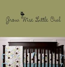Grow wise little owl Wall Decal Lettering Decor Quote