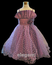 Purple Polka Wedding Flower Girls Dress Gown Age 2-13