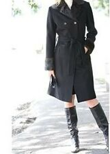 ladies women's winter black wool coat long jacket faux fur plus sizeXL1X 2X 3X4X