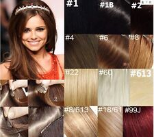 "20""-22""Remy Human Hair 15Clips In Extensions Straight 7pcs Any Fashion color,75g"