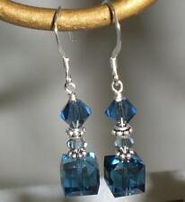 Crystal Montana Denim Blue Cube Dangle Earrings Made with Swarovski Elements