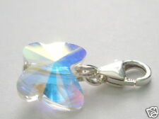 Butterfly Charm 925 Sterling Silver Clasp Made with Swarovski Elements Crystal