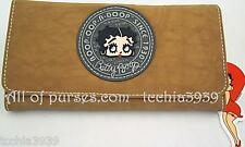 Betty Boop BLACK BROWN  fabric trifold Long checkbook wallet