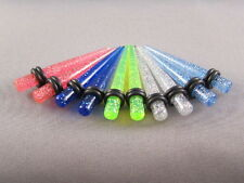 4G 5mm UV Glitter Blue Green Pink Clear Ear Tapers Expanders Stretchers 1 Pair