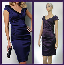 Banded V Collar Stretch Satin Gathers Cocktail Sheath Dress w Soft Lining New UK