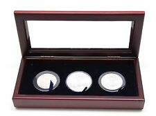 Glass Top Wood Display Box for 3 Coins in Airtite Model I Capsules, Silver Eagle