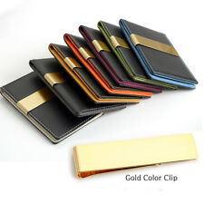 Money Clip Wallet 7 Color Faux Lather Card Holder / GOLD COLOR CLIP