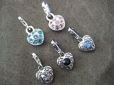 PICK YOUR COLOUR  ~ Clip On Silver Heart with Crystals Charm